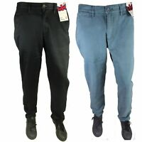 Mens Cotton Slim Fit Chino Jeans Trousers Casual Smart Black Blue Straight Leg