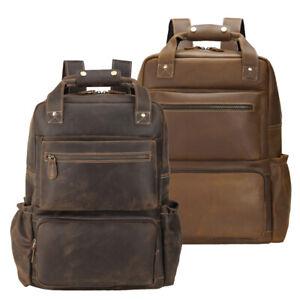 """Men Leather Travel Backpack 16"""" Laptop Bag Daypack Office Bag Satchel School Bag"""