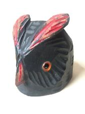 Vintage Arts & Crafts Carved And Polychrome Owl Head