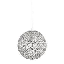 KICHLER Crystal Globe Ball Pendant Ceiling Hanging Light Lighting Fixture Chrome