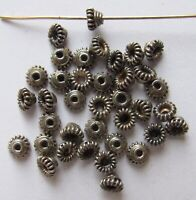 6x6 mm Rustic Oxidized Bali Sterling Silver Melon Spacer Beads 5 PCS
