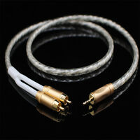 Top Quality MCA Stereo 3.5mm male to 2 RCA Audio Cable Silver Plated for TV PC