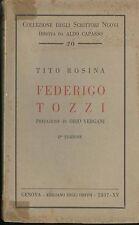 Federigo Tozzi Rosina Tito Emiliano degli Orfini 1937 II edizione