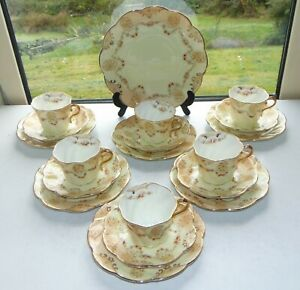 Antique Queens China George Warilow Edwardian c1910 19 PC Cups Saucers Plates