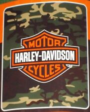 New Harley Davidson Camo Camouflage Fleece Throw Gift Blanket Shield Logo Biker