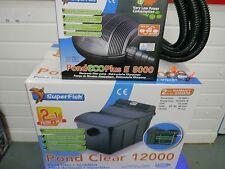 SF Pond clear filter + UV, SF 8000lph ECO pump, pipe & clips. ponds upto 12000L