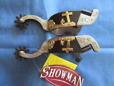 Men's silver show spurs with gold cross praying cowboy western Antique brown