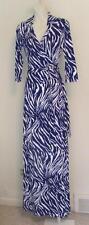 Diane von Furstenberg Abigail Tiger Shadow Purple maxi wrap dress 4 white Chrome
