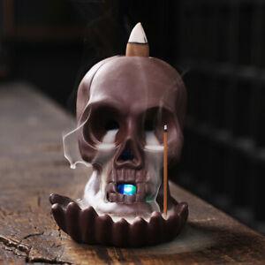 Ceramic Handicraft Windproof Waterfall Backflow Skull Incense Burner Home DecQI