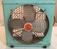 Wizard Breeze Box Fan 3 Speed Teal Aqua Blue Vintage