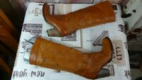 Ladies tan NOVITA knee length brown leather boots/made in Italy size 38eu/5UK di