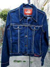 Fiorucci Denim Jean Jacket Embroidered Raw Edge Large