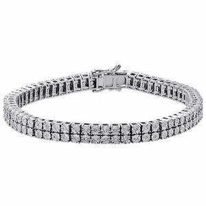 White Diamond Bracelet Mens 2 Row Tennis Link Design Sterling Silver 0.46 ct.
