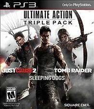 ULTIMATE ACTION TRIPLE PK W/JUST CAUSE 2/TOMB RAIDER/SLEEPING DOGS PS3 ACT NEW V