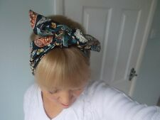 HEAD SCARF HAIR BAND PINK ORANGE FLOWER TROPICAL TIE BOW NECK ROCKABILLY SWING