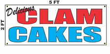 Clam Cakes Banner Sign NEW 2x5