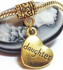 DAUGHTER_Antiqued Gold Bead For European Charm Bracelet_Heart Child Mother_i20