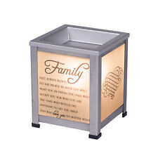Family Love Silver Tone Metal Electrical Wax and Oil Glass Lantern Warmer