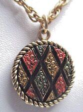 Original beau pendentif chaîne bijou vintage signé couleur or émail chiné 154