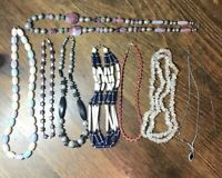 Lot Of 9 Vintage 80s 90s Beaded Necklaces Chains Nautical Jewelry Theater Drama