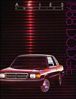 1988 Dodge Aries America K Deluxe Sales Brochure Book