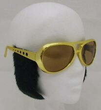 70s Rock n Roll Fancy Dress Glasses & Sideburns Rockstar the King Gold New