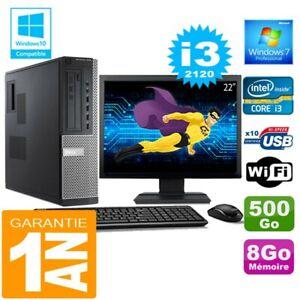 """PC DELL 7010 DT Core I3-2120 Ram 8Go Disque 500 Go Wifi W7 Ecran 22"""""""