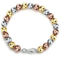 "Women's Italian 14k Tri-Color Gold Plated 7.8"" Balls Bracelet 11.80 grams ITALY"