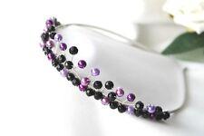 Handmade Mariées Demoiselles d'honneur de bal -- Violet Perles & Cristal Noir Tiara Bandeau