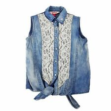 PINK SUGAR Womens Petite Blue Denim White Lace Blouse Sleeveless Top Girls Teens