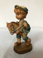 "Anri Sarah Kay ""Giddyap"" little boy on hobby horse. 4"" Wood hand-carved. Italy."