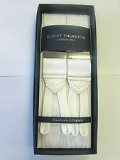 ALBERT THURSTON WHITE MOIRE BRACES WHITE BRAID ENDS AND SILVER FITTINGS