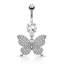 Belly Button Navel Rings 14g Cz Butterfly Dangle 316L Surgical Steel