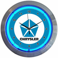"CHRYSLER BLUE PENTASTAR 15"" Neon Wall Clock Neonetics 8CRYBL MAN CAVE NEW LOOK"