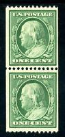 USAstamps Unused VF US 1908 Franklin Horizontal Coil Pair Scott 348 OG MNH