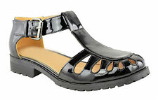 Ladies Women Gladiator Chunky Sole Girls Geek Sandals School Boots Shoes Size