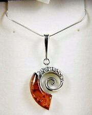 """Genuine Baltic Honey Amber Chambered Nautilus Pendant in Sterling Silver 1""""  H"""