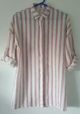 NWT COSSET PURE LINO BLOUSE WHITE RED STRIPE S/M BUTTON FASTENING