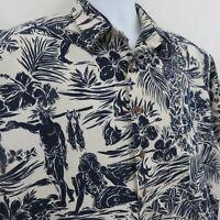 Koko Island Fishing Ukulele Aloha Hawaiian Shirt Mens XL Navy Blue 100% Cotton