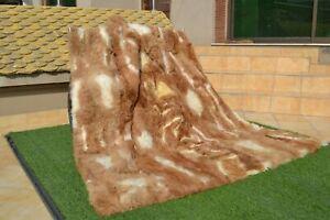 """Real Queen VICUNA Guanaco Alpaca Llama Fur Pelz Blanket Throw Spread 82""""X70"""" rug"""