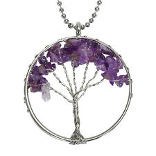 Tree of Life Necklace Natural Stones Pendant Gemstone amethyst