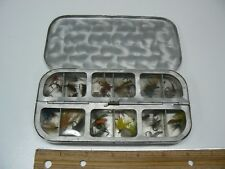 Vintage Fishing Fly Box with 32 Dry Flies, Hinged Doors w/Windows,Aluminum, NICE