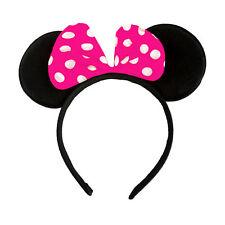 Haarreifen Maus Ohren mit Schleife in Pink Weiß Fasching Karneval