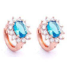 Ear Jewelry Ocean Blue Oval Cubic Zircon Rose Gold Plated Lady Hoop Earrings