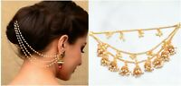 Indian 22k Gold Tone Pearl Earrings Kaan Chain Bollywood Wedding Fashion Jewelry
