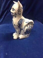 LOOK Cat White blue PORCELAIN piggy bank money box home decorative sculpture-79