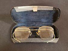 Vintage Rectangular Wire Rim Eye Glasses Gold colored Frames (20110416)