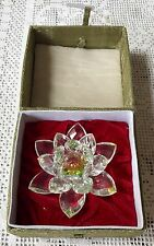 LARGE CRYSTAL LOTUS FLOWER ORNAMENT WITH ORIGINAL ORIENTAL GIFT BOX