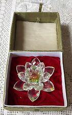 Ornamento De Cristal Grande Flor De Loto Con Caja De Regalo Original Oriental