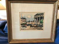 Vintage Water Color and ink of Paris Signed J P Duriez